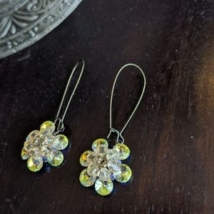 Anthropologie Crystal Flower drop earring